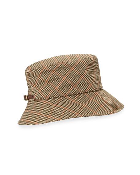 ede7333ab22 Eric Javits Check-Print Bucket-Style Rain Hat
