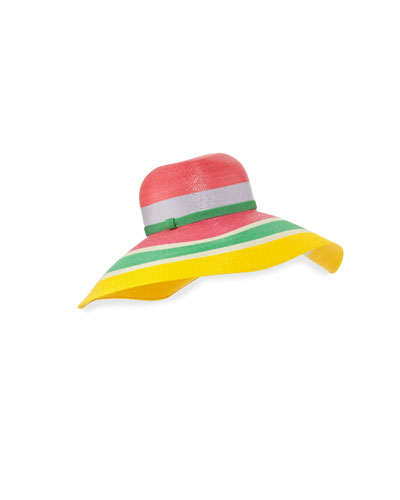 Striped Floppy Sun Hat, Pink/Green/Yellow