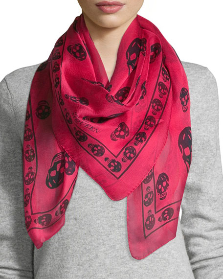 skull-print scarf - Red Alexander McQueen ZZn3DWC5YZ