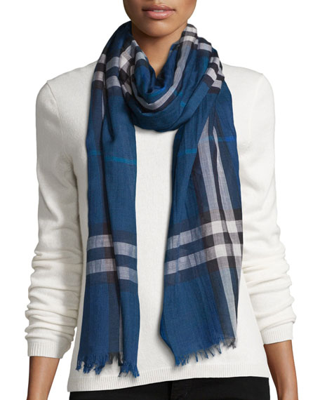 check wool silk scarf - Blue Burberry TARViNOjM7