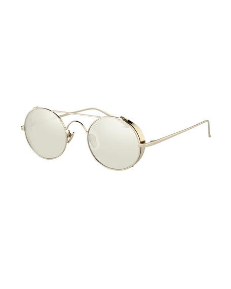 63b65c000efd Linda Farrow Round Brow-Bar Sunglasses