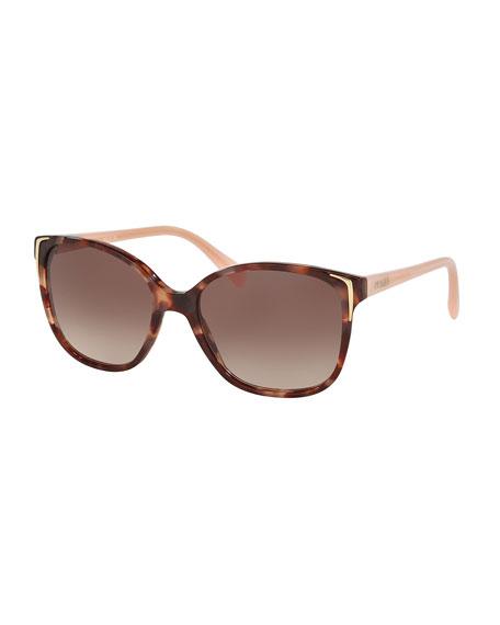7f01c4d4895b Prada Square Gradient Arrow-Edge Sunglasses, Brown/Pink