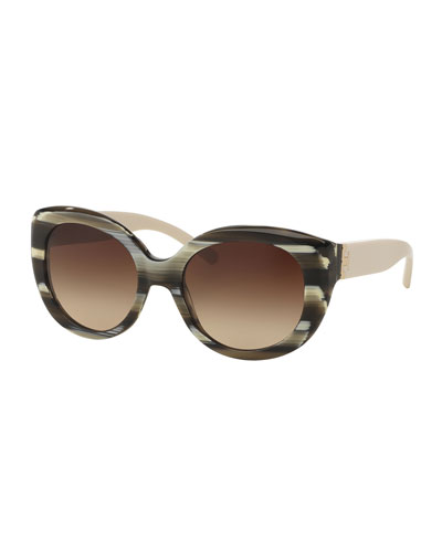 Two-Tone Streaked Cat-Eye Sunglasses, Olive Horn