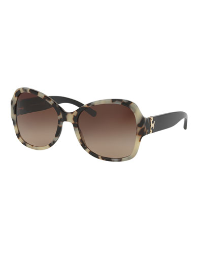 Oversized Two-Tone Butterfly Sunglasses, Black/White