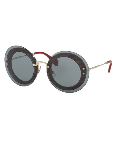 Round Gingham Overlay Sunglasses, Gray/Red
