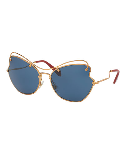 Gradient Waved Metal Sunglasses, Gold/Blue