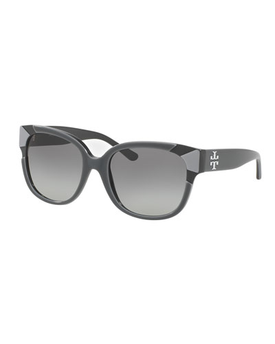 Square Notched-Trim Sunglasses, Gray