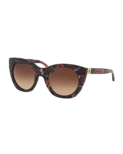 Rounded Cat-Eye Logo-Temple Sunglasses, Port Tortoise