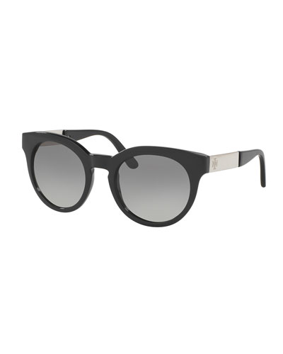 Rounded Square Gradient Sunglasses, Black