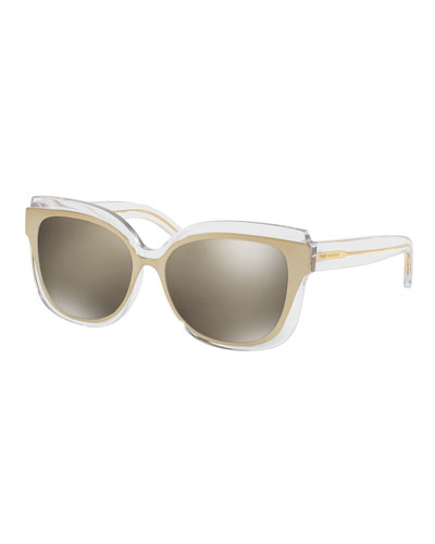 Square Mirrored Layered Sunglasses, Clear/Gold