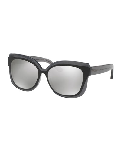 Square Mirrored Layered Sunglasses, Gray/Black