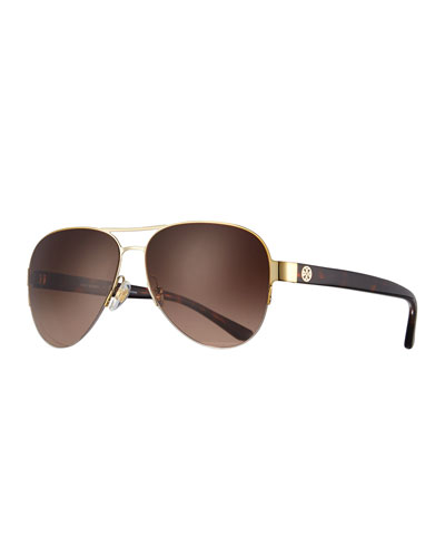 Mirrored Iridescent Aviator Sunglasses, Gold/Green