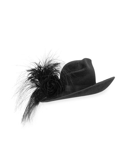 Philip Treacy Velour Feather-Spray Side-Sweep Hat 79ed303380cb