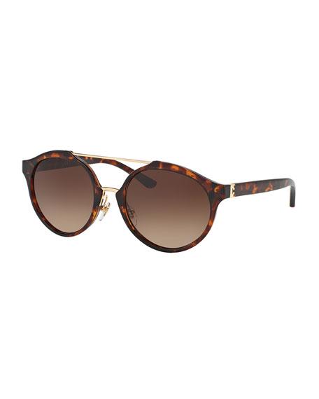 tory burch gradient round double bridge sunglasses brown havana. Black Bedroom Furniture Sets. Home Design Ideas