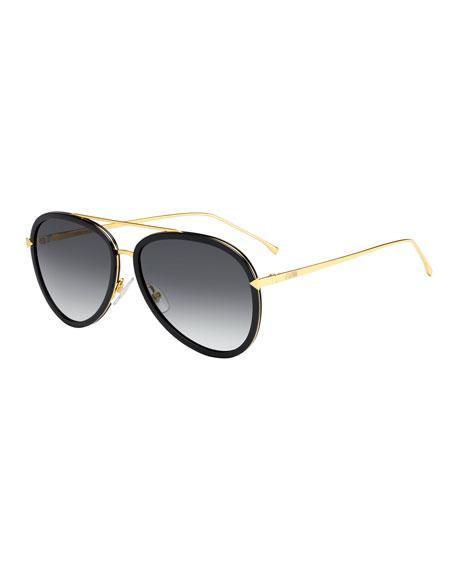 Fendi Trimmed Gradient Aviator Sunglasses
