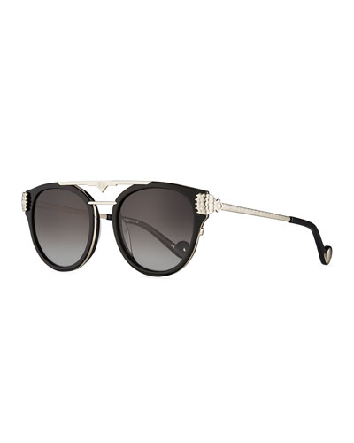 Paws Love Round Flat-Top Sunglasses, Black/Silver
