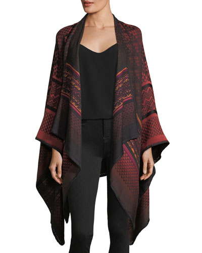 Mantel Zigzag Knit Cape, Wine