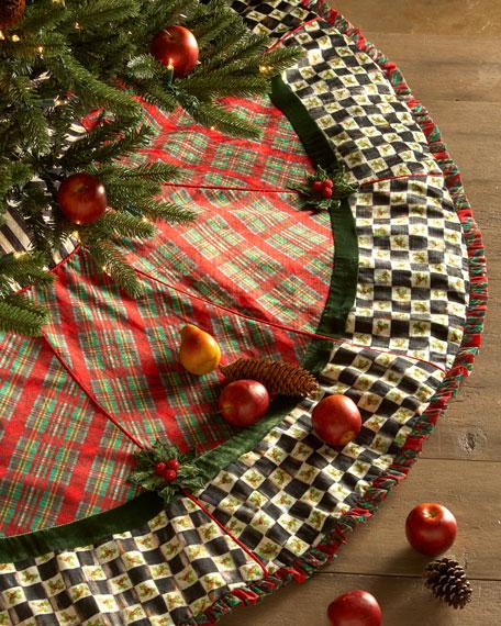 Mackenzie Childs Christmas Ornaments.Holiday Tartan Christmas Tree Skirt