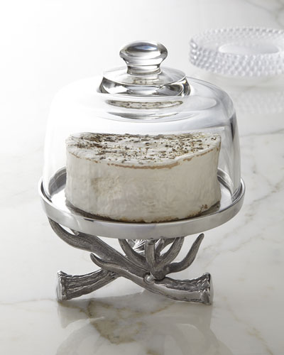 Antler Cake Stand with Glass Dome