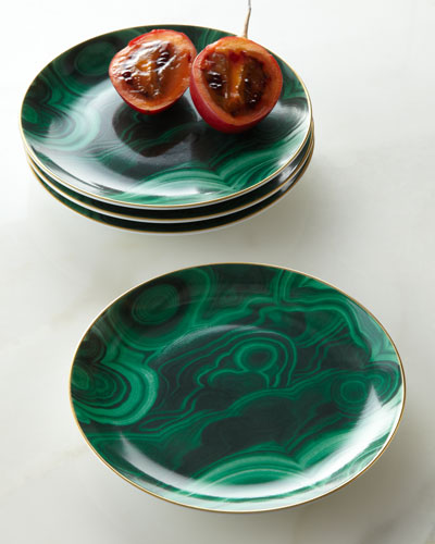 Four Malachite Canape Plates