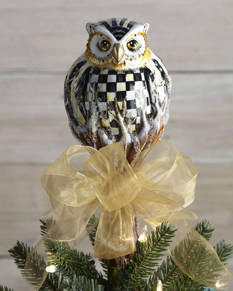 courtly check owl christmas tree topper
