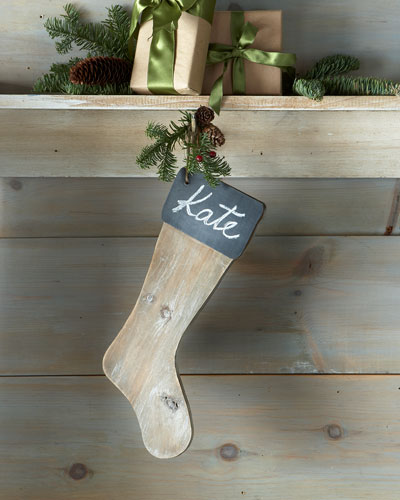 Chalkboard Wood Christmas Stocking