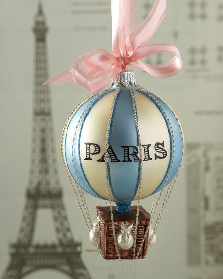 Paris Christmas Ornament.Paris Hot Air Balloon Christmas Ornament