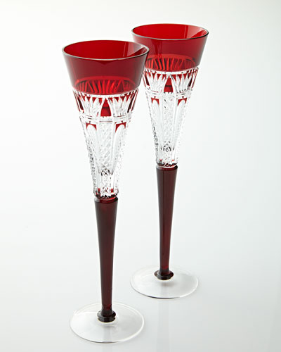 Two Times Square Red Cased Flutes