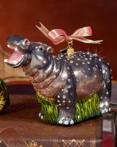 Hippo Christmas Ornament - Jay Strongwater Hippo Christmas Ornament