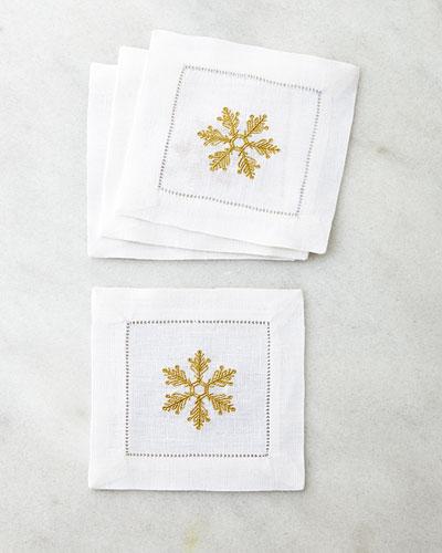 Four Snowflake Cocktail Napkins