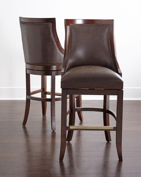 Wooden Revolving Stool Light Brown Swivel Bar Pub Chair: Logan Leather Swivel Stools