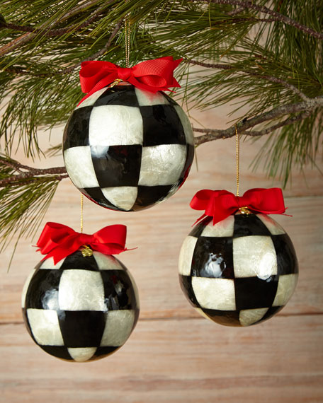 Mackenzie Childs Christmas Ornaments.Three Jester Fancies Large Ball Christmas Ornaments