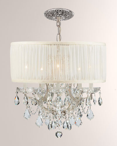 Crystorama Brentwood Six-Light Elements Crystal Chrome Drum Shade Chandelier