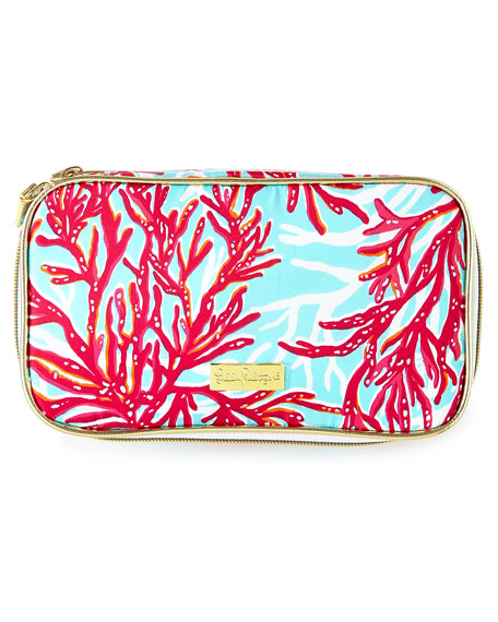 Cruising Coral Print Cosmetic Case