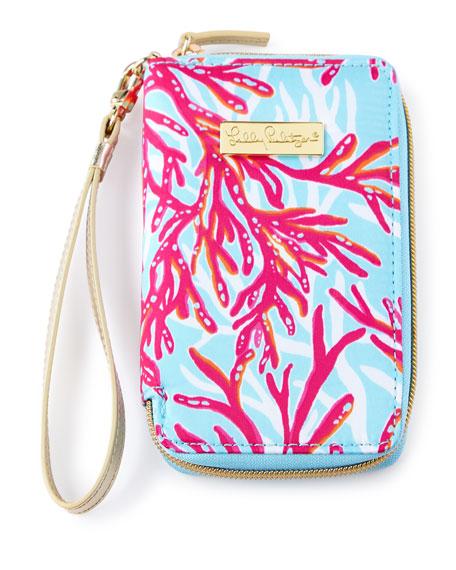 Delicieux Coral Print Tiki Palm IPhone 6 Wristlet