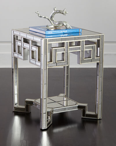 Lattice Mirrored End Table