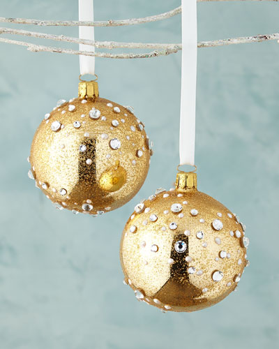 Glittered Ball Christmas Ornaments, Set of 2