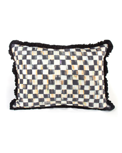 Courtly Check Ruffled Lumbar Pillow