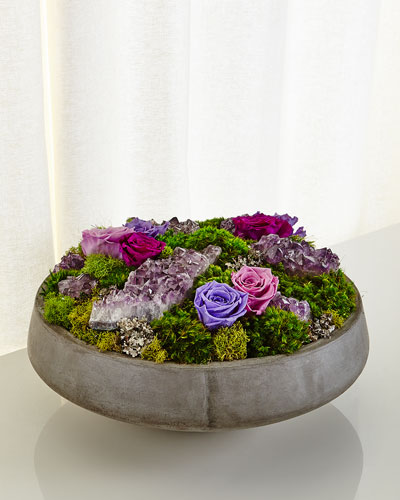 Concrete Bowl Preserved Rose