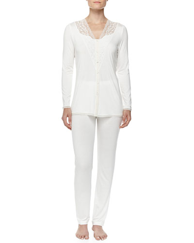 Pizzo Button-Front Pajama Set