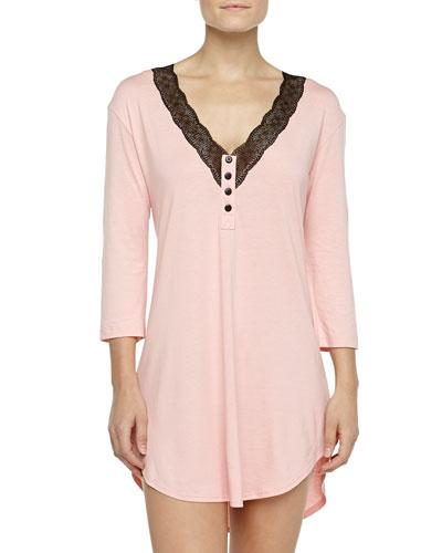 Perugia 3/4-Sleeve Medallion Lace Sleepshirt, Rosa Sorbetto/Black