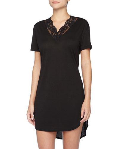 Ravello Floral Lace-Trimmed Jersey Sleepshirt, Black