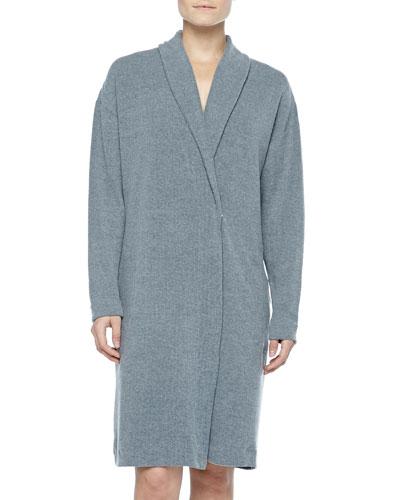Aosta Fleece Short Robe, Anthracite