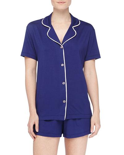 Bella Boxer-Short Jersey Pajama Set, Twilight/Pink Lily