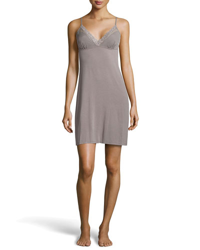 Feathers Lace-Back Chemise, Gray
