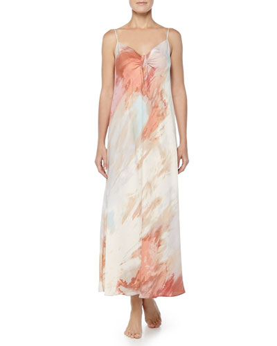 Watercolor-Print Tissue Crepe Long Gown, Aurora