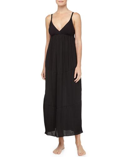 Tissue Crepe Long Gown, Black