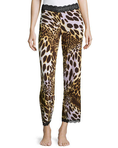 Lace-Trimmed Animal-Print Pants, Natural Brown
