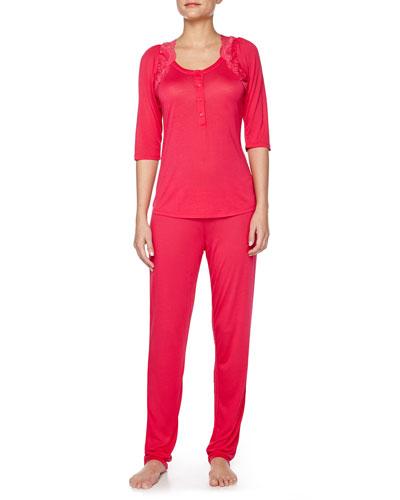 Begonia Lace-Ruffle Trimmed Pajama Set, Lampone