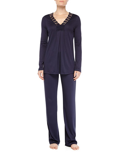 Brooklyn Guipure Lace-Trimmed Pajama Set, Ink